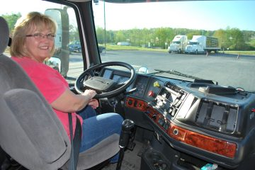 student driving truck