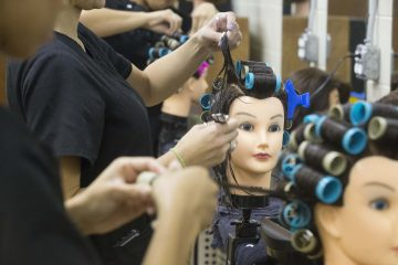 Cosmetology and Esthetician students at work