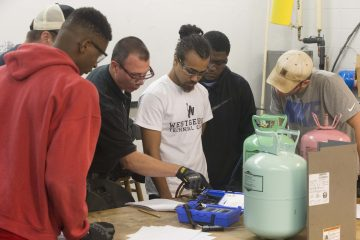 air conditioning students at work