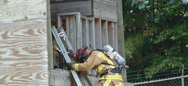 Fireman on ladder