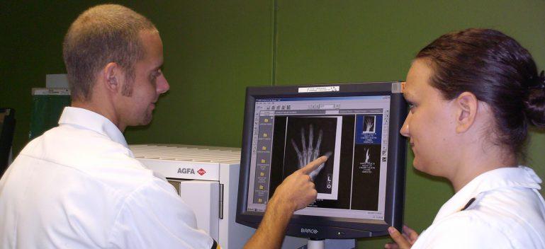 students examining x rays