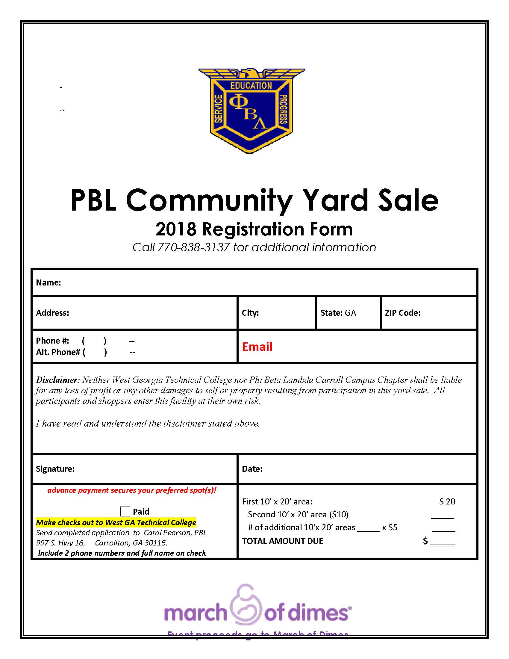 PBL Yard Sale Registration Form