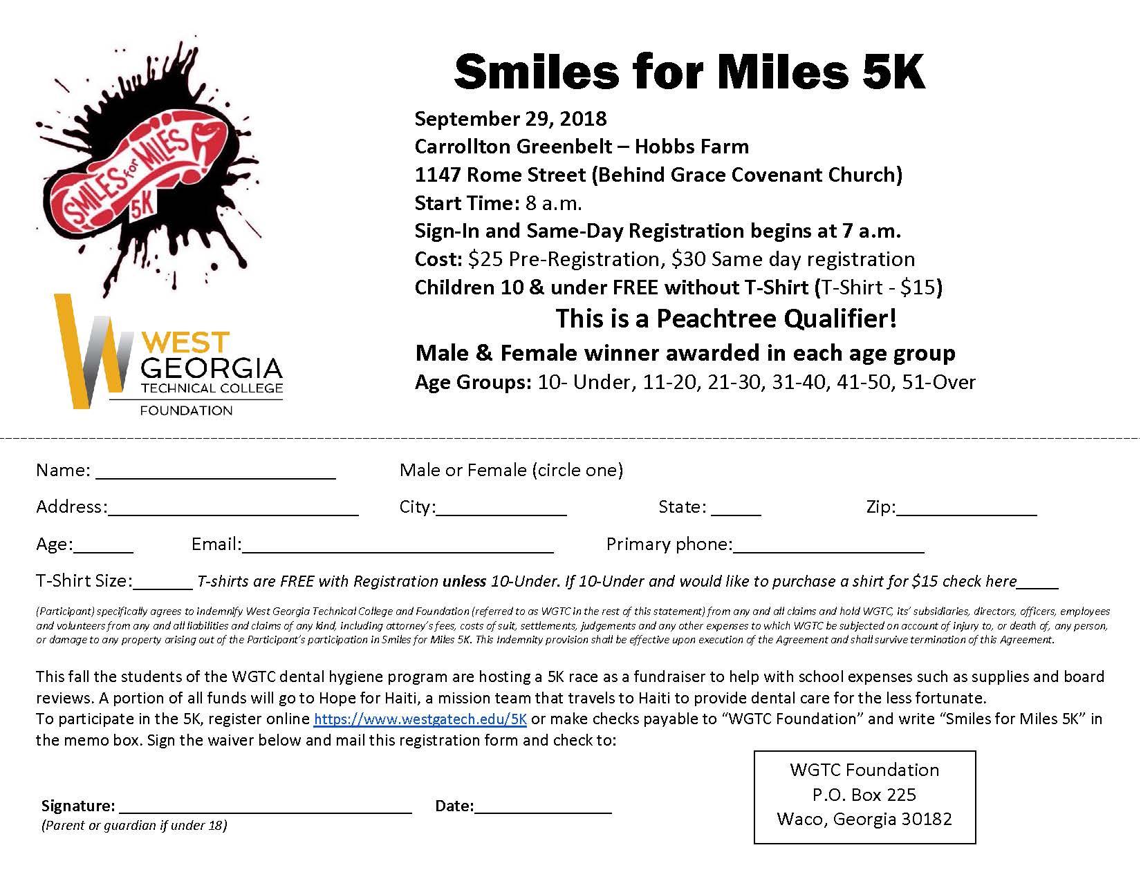 Smiles for Miles 5K flyer