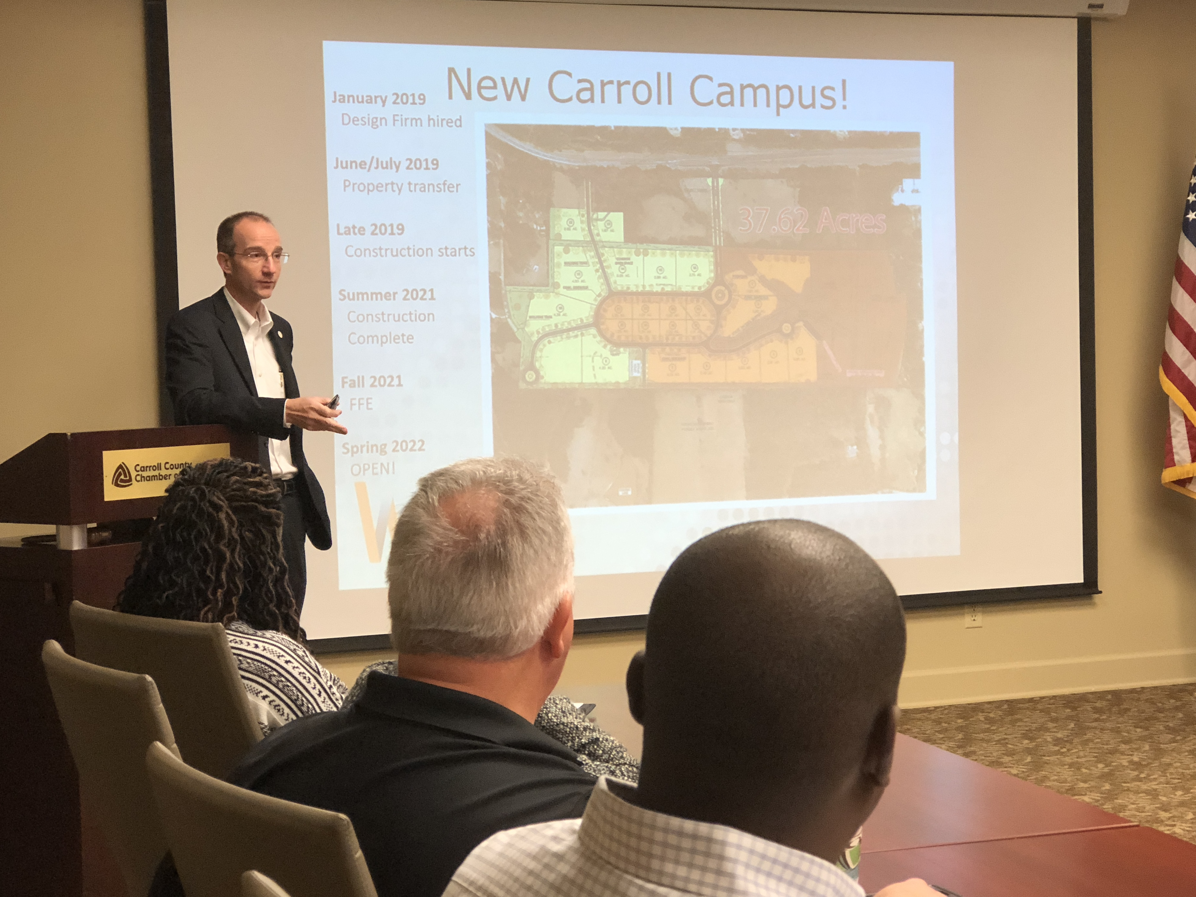 Rule presents new campus to chamber