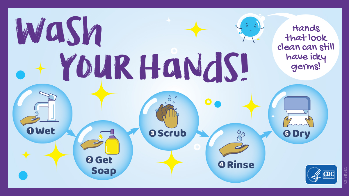Wash your hands steps: wet; get soap; scrub; rinse; dry. Bubble says: Hands that look clean can still have icky germs!