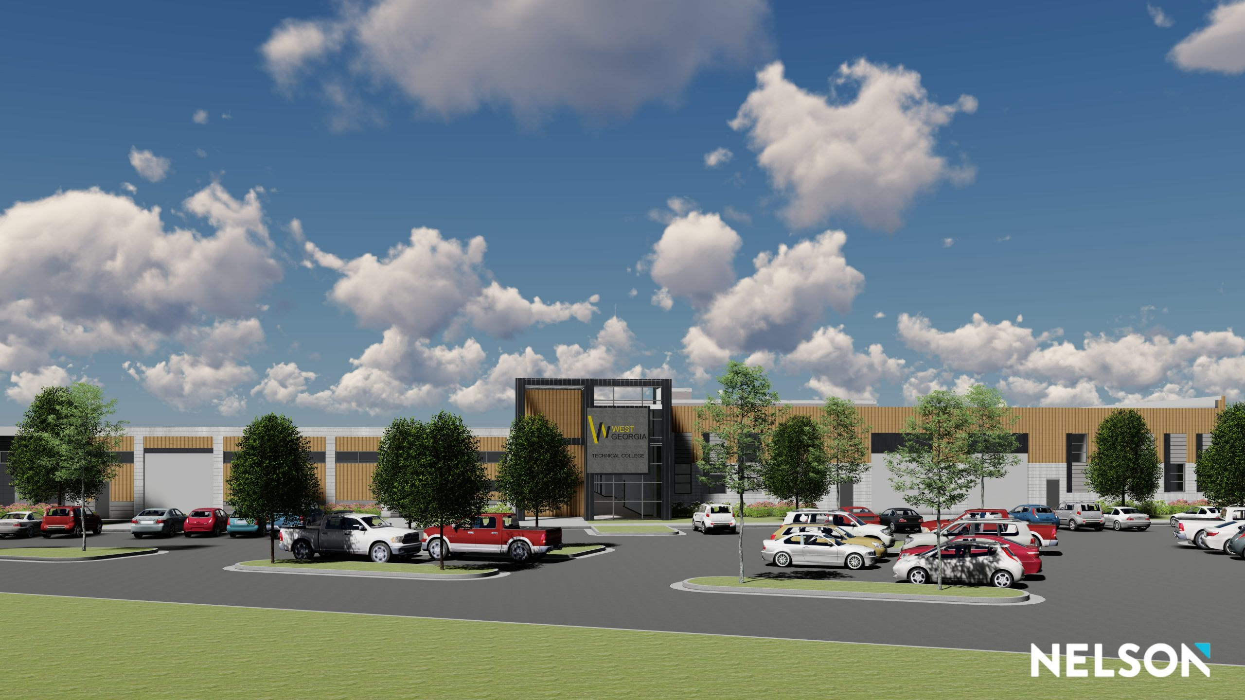 WGTC New Campus Technical Building concept with building, parking lot, and trees.