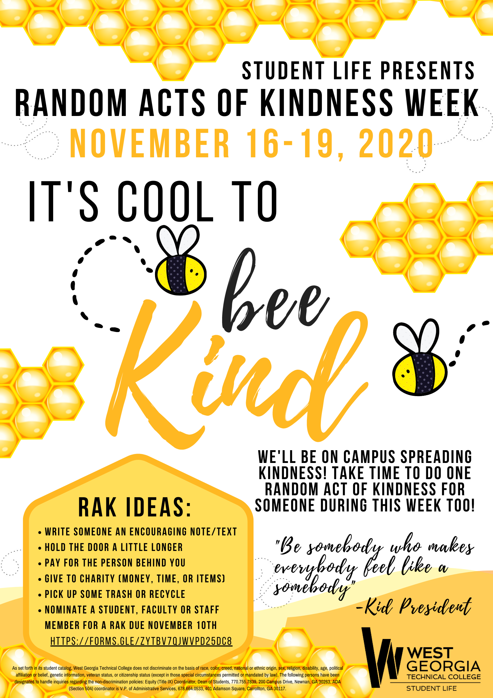 Random Acts of Kindness week bees and beehive flyer