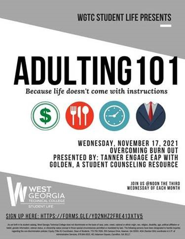 adulting 101 info flyer
