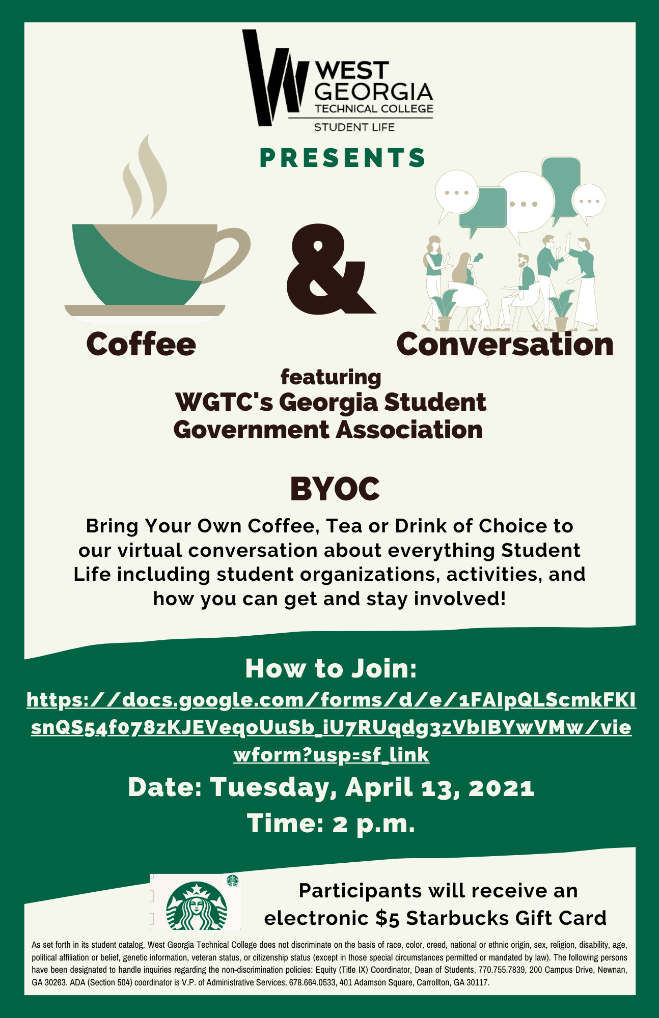 coffee and convo info flyer
