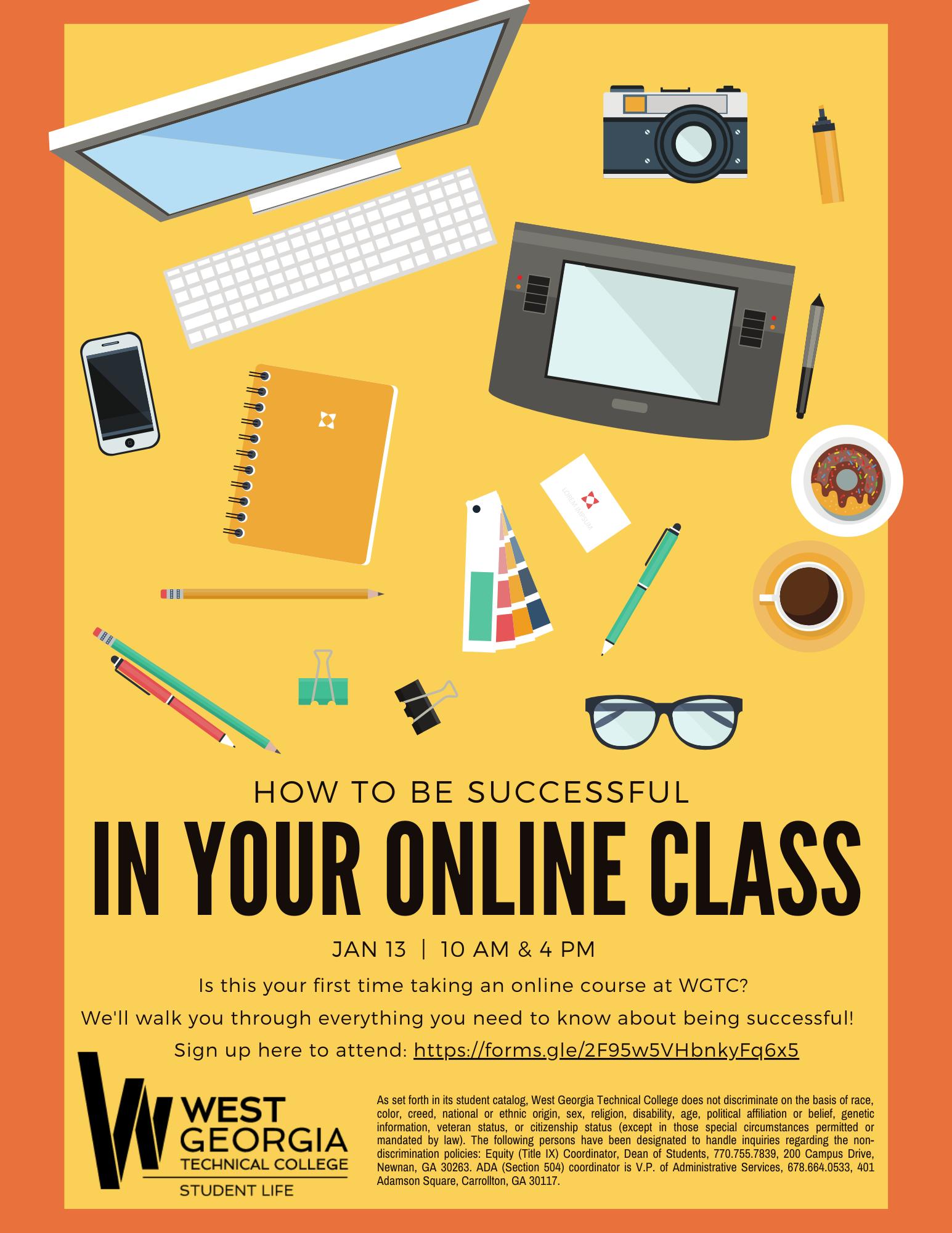 Online class success info flyer