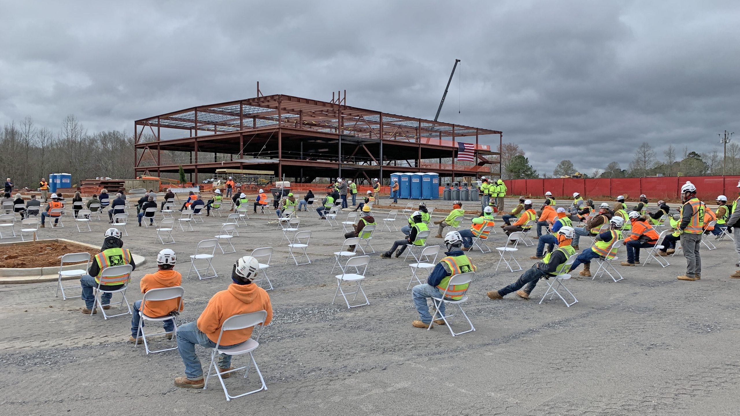 Campus Topping Out Crowd watching construction